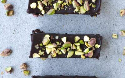 Chocoladerepen met pistachenoten