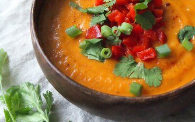 Soep met zoete aardappel en paprika