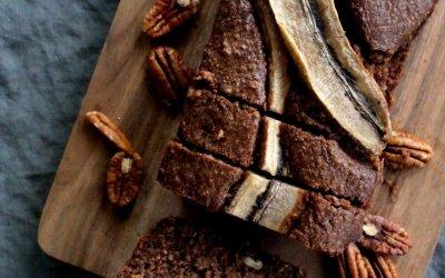 Cake met chocolade en banaan
