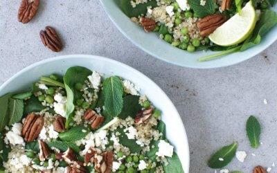Quinoa salade met feta, munt en erwten