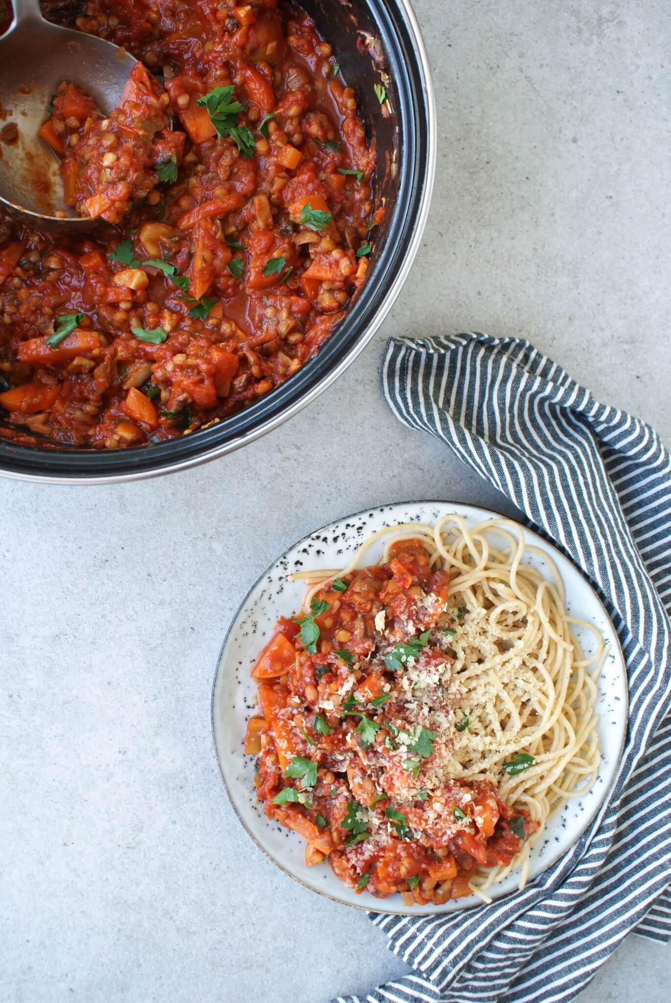vegetarische-pasta-bolognese