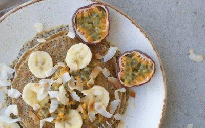 Vegan pannenkoeken met banaan en passievrucht
