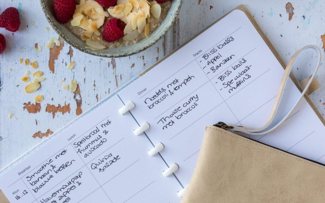 Uitwisbaar notitieboekje met voedingsplanner