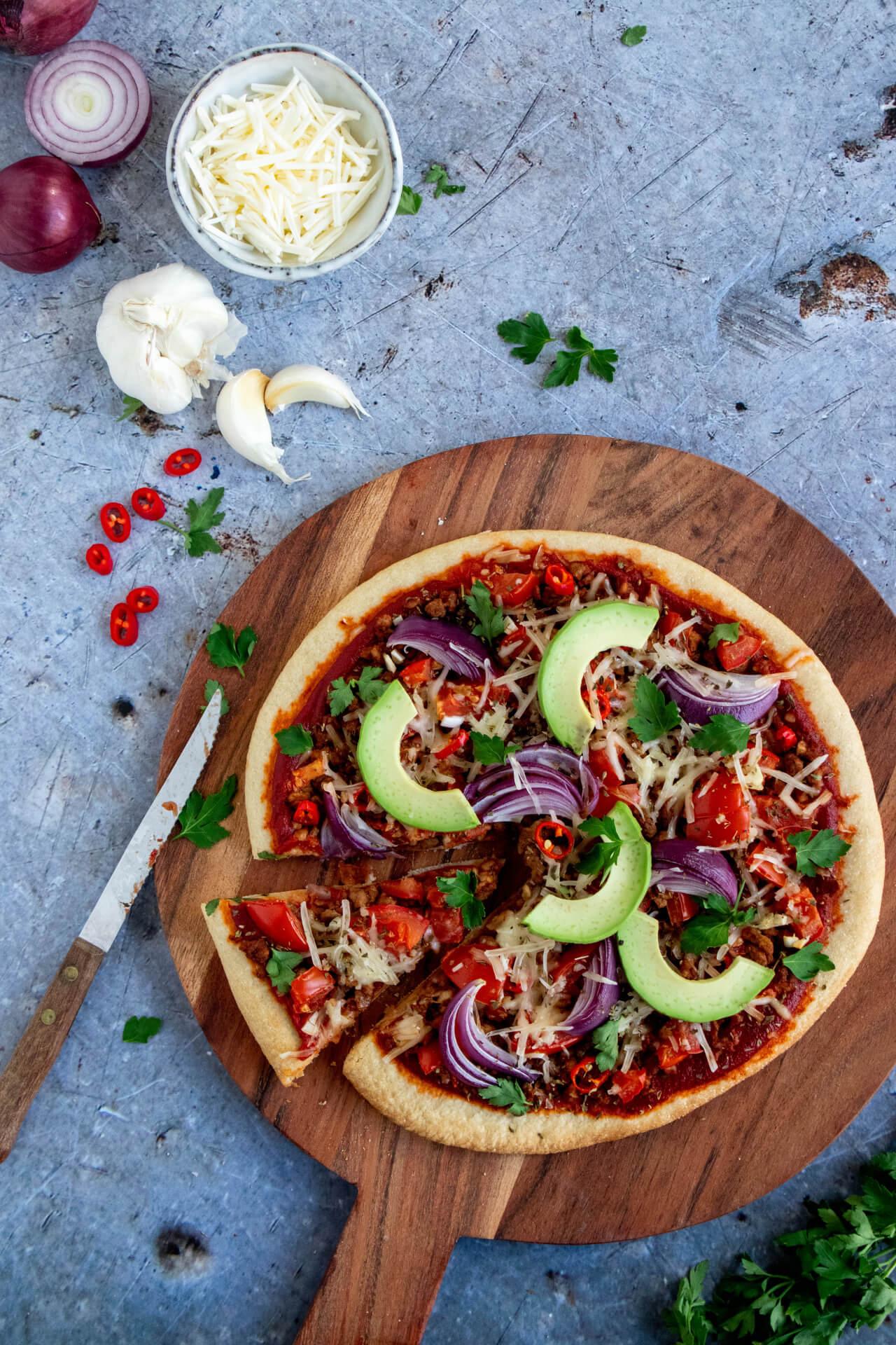 Mexicaanse-pizza-met-vegetarisch-gehakt