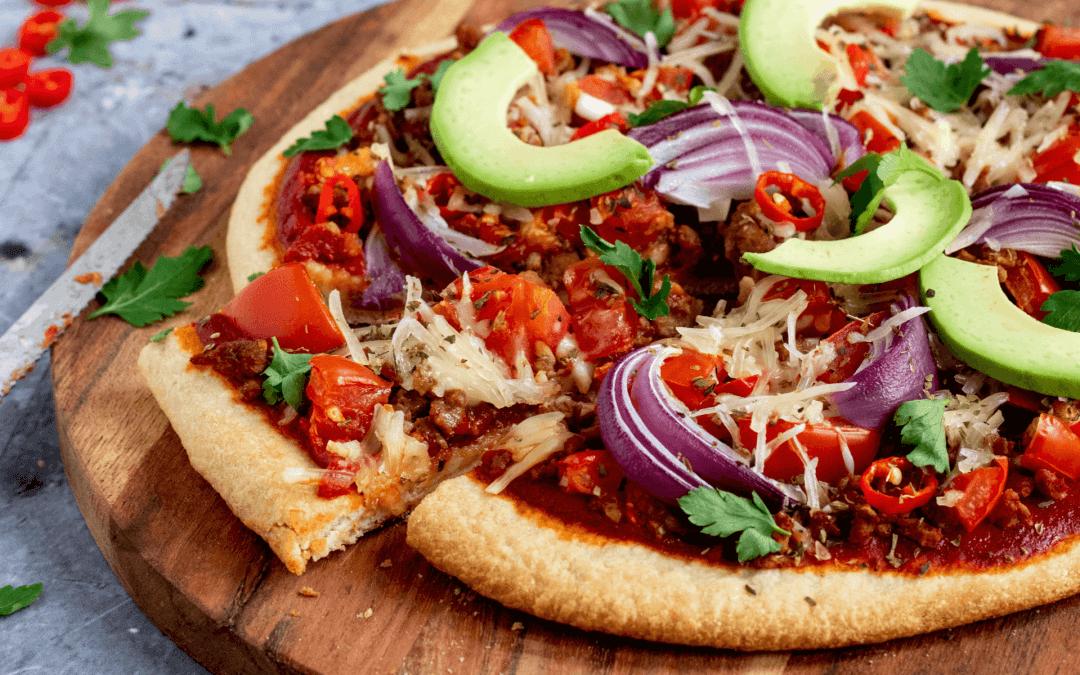 Mexicaanse pizza met vegetarisch gehakt