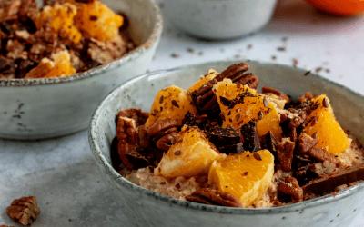 Havermoutpap met sinaasappel en pure chocolade